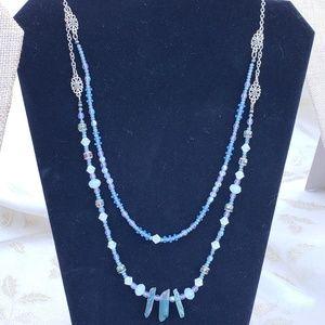 One-of-a-kind Silver Aura Rainbow Quartz Necklace